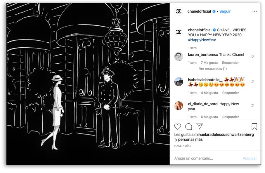 Presencia visual en redes sociales - Ejemplo Chanel