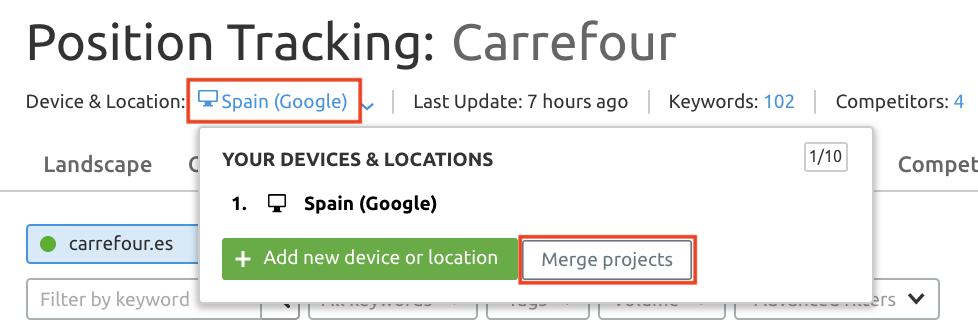 SEMrush Position Tracking - Combinar proyectos por dispositivo