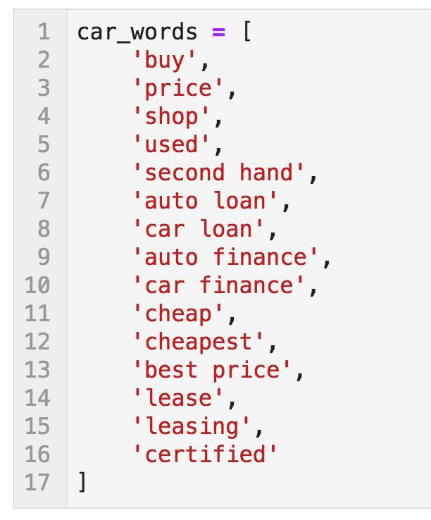 Word list (car_words)