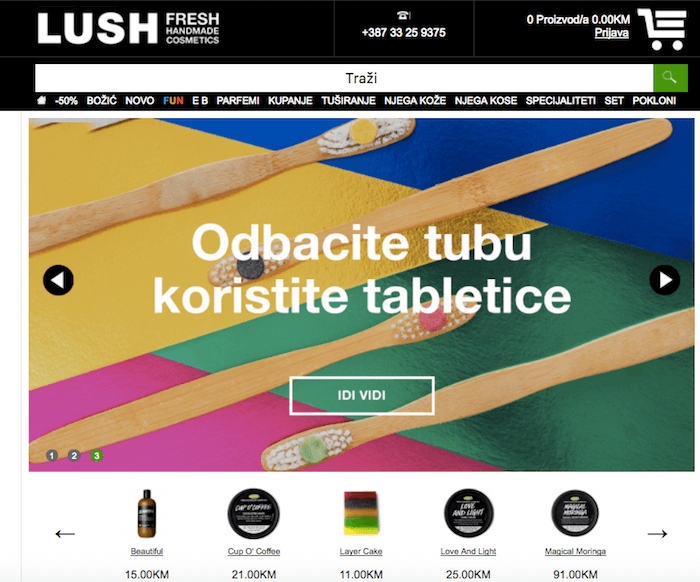 L'ecommerce di Lush per il mercato bosniaco