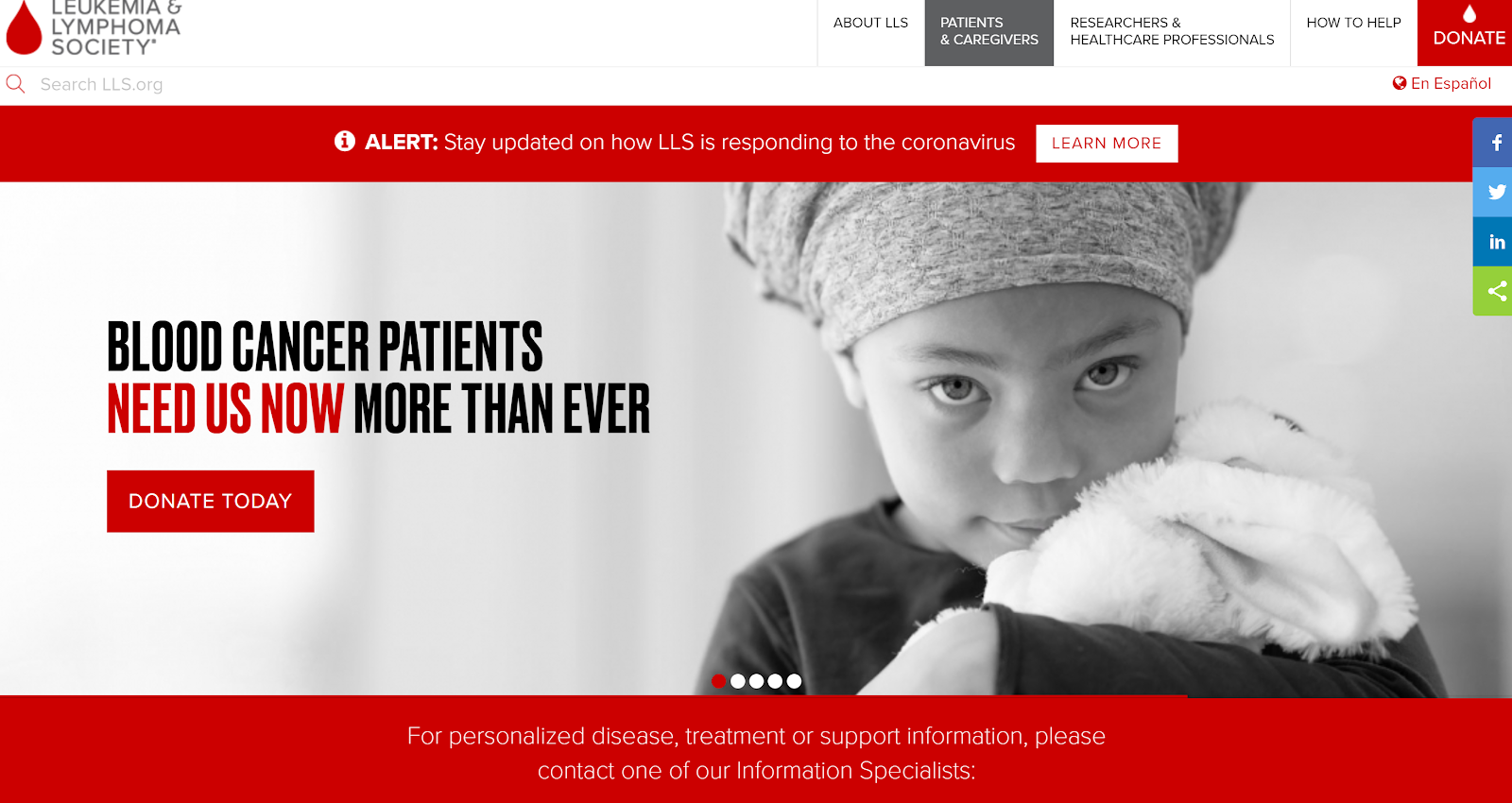 Leukemia and Lymphoma Society page