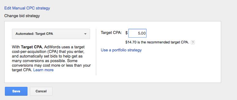 Google Bidding: Target CPS
