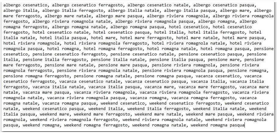 """Analisi Keyword - Astrazione di """"Hotel Cesenatico"""""""