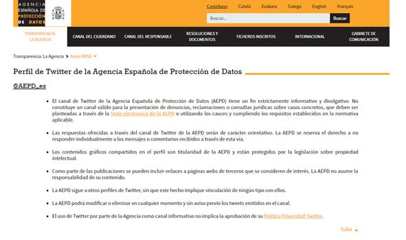 RGPD Agencia protección de datos Twitter