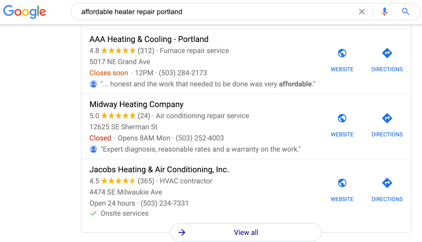 affordable heater repair portland map pack example