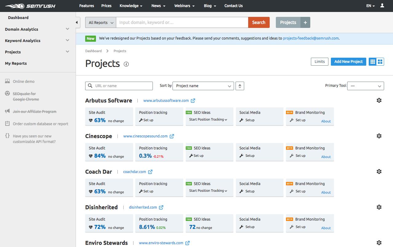 Add a project in SEMrush