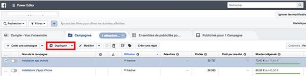 Dupliquer une publicité Facebook