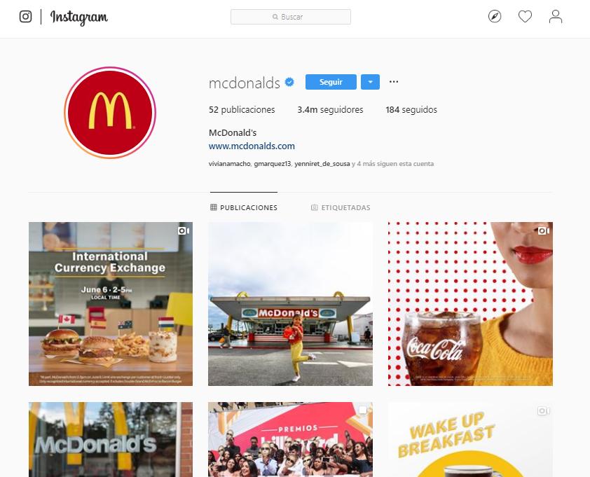 Likes en Instagram - McDonald's