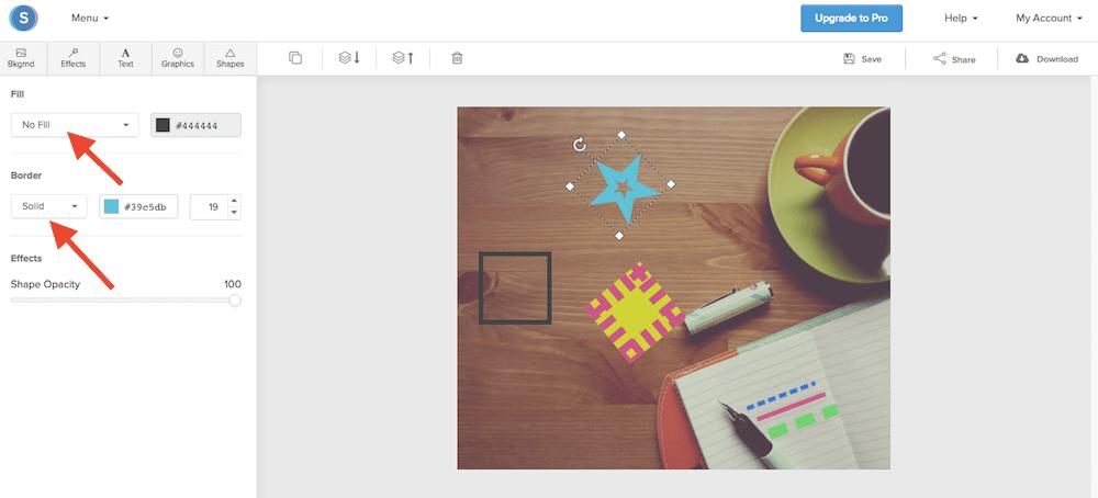 Snappa e la funzione gratuita Shapes del programma di grafica