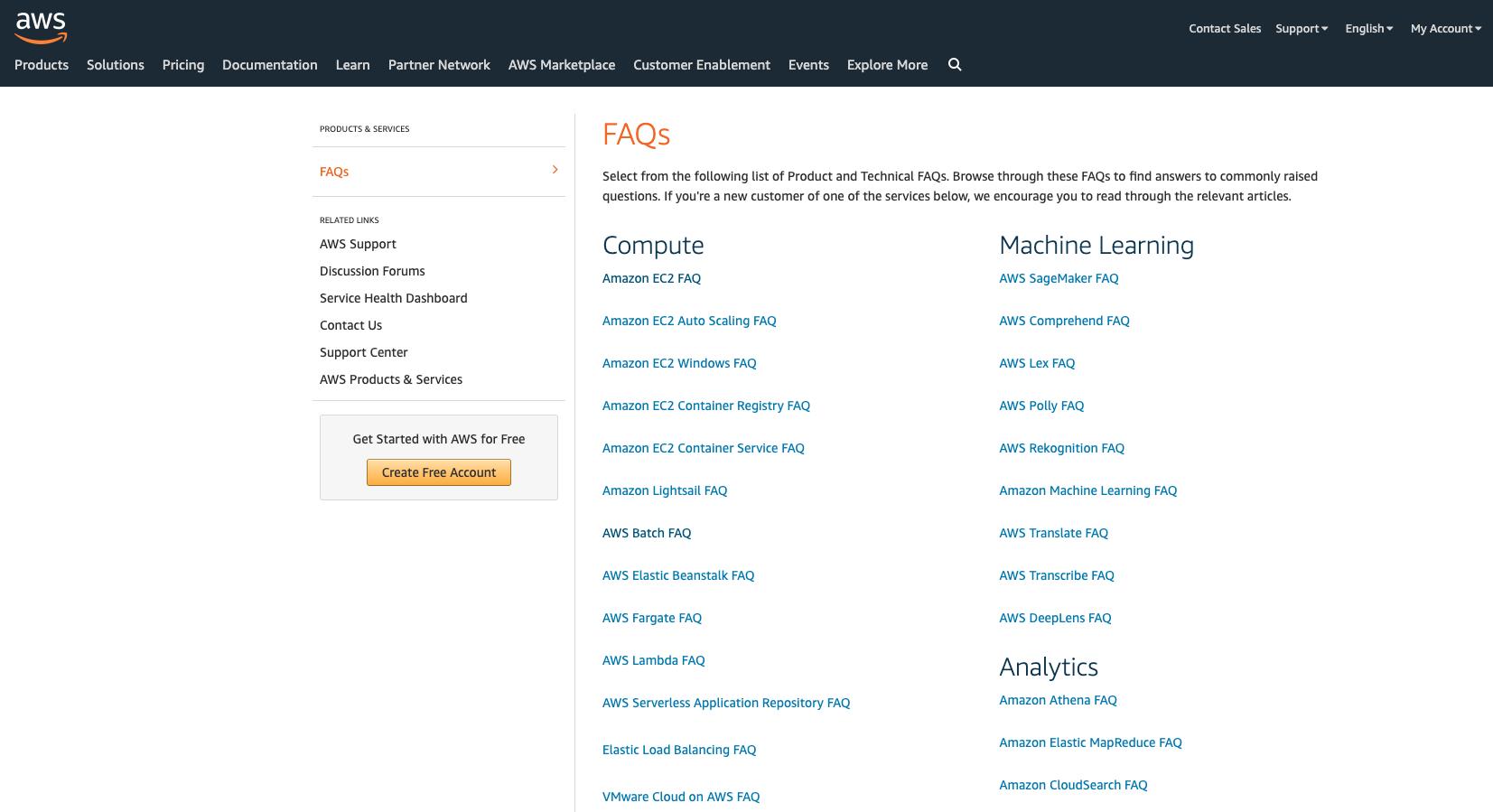 Amazon web services FAQ page