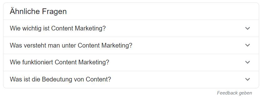 Google schlägt ähnliche Fragen vor