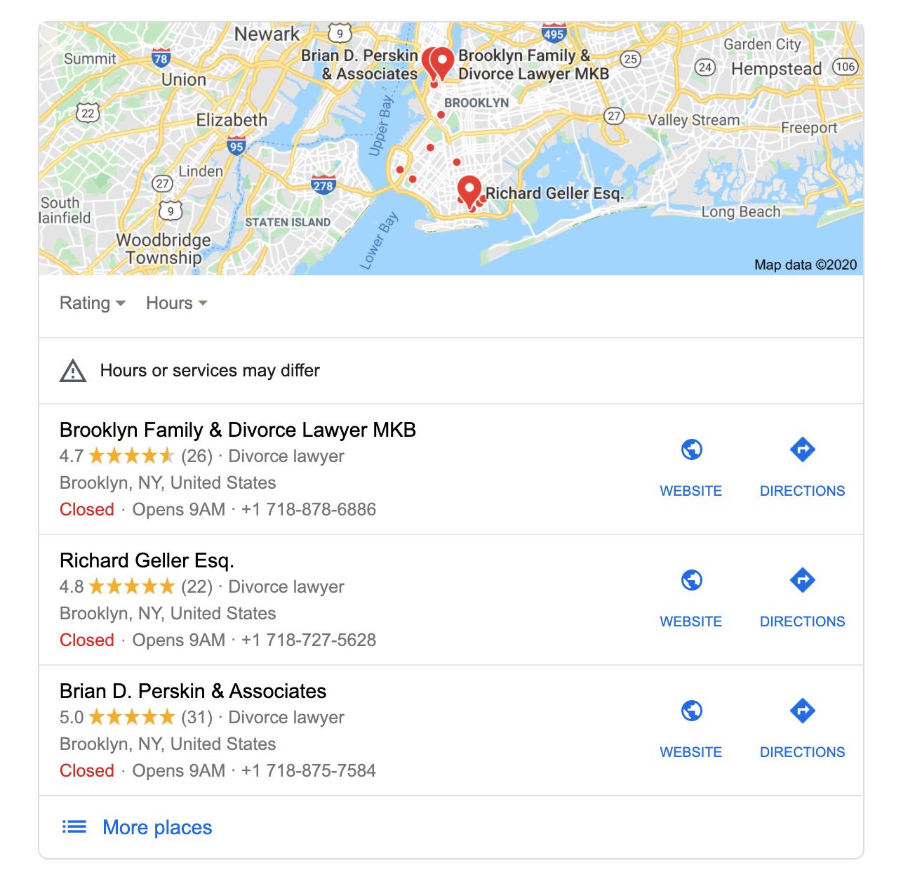 SERP map pack business listing screenshot