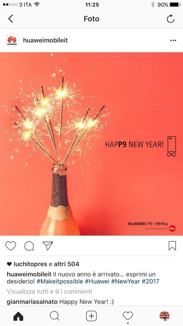 Il profilo aziendale di Huawei Italia su Instagram