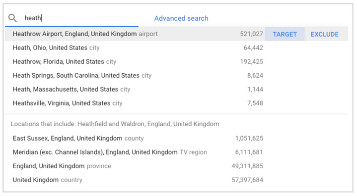 Google Ads Location Search