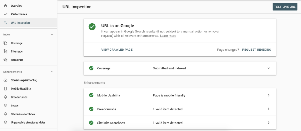 google search console main menu