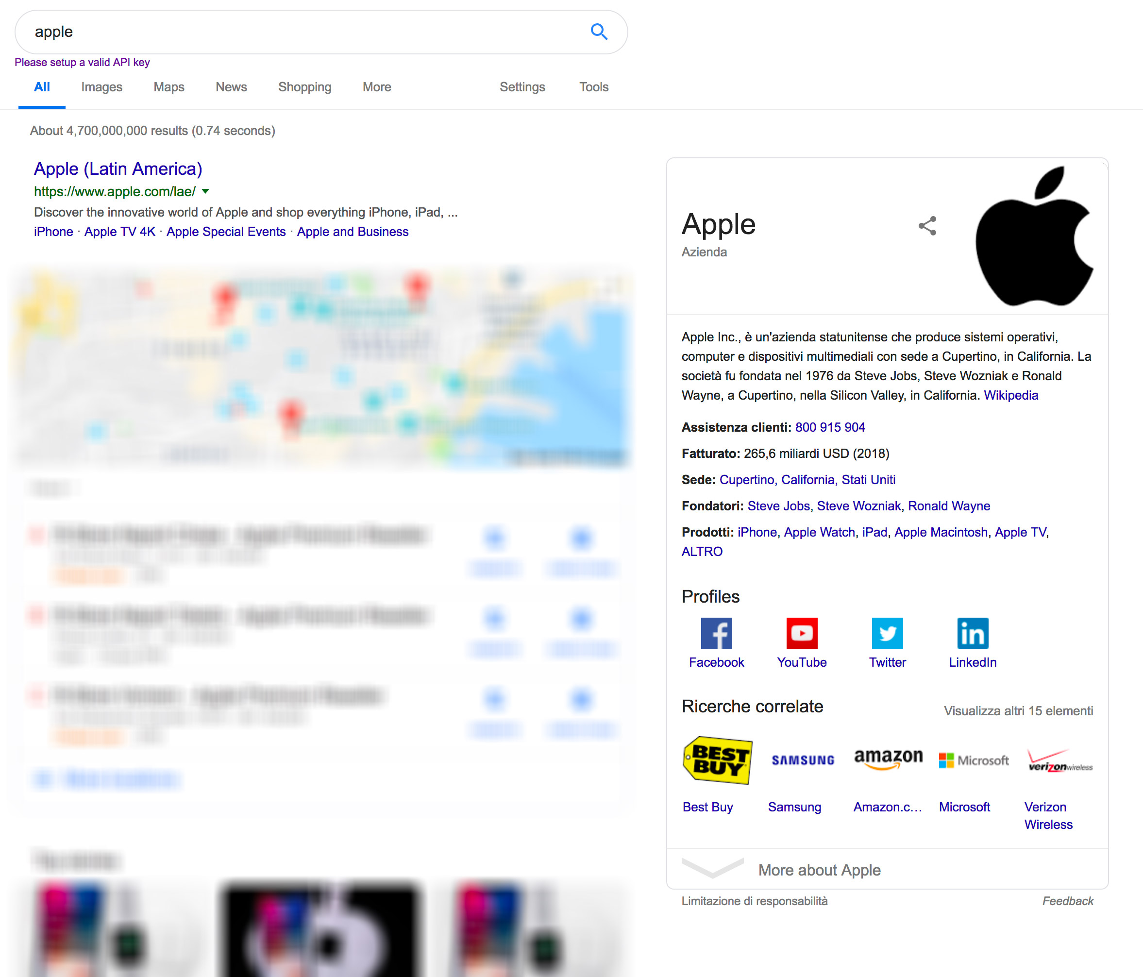 Snippet di Google: knowledge graph