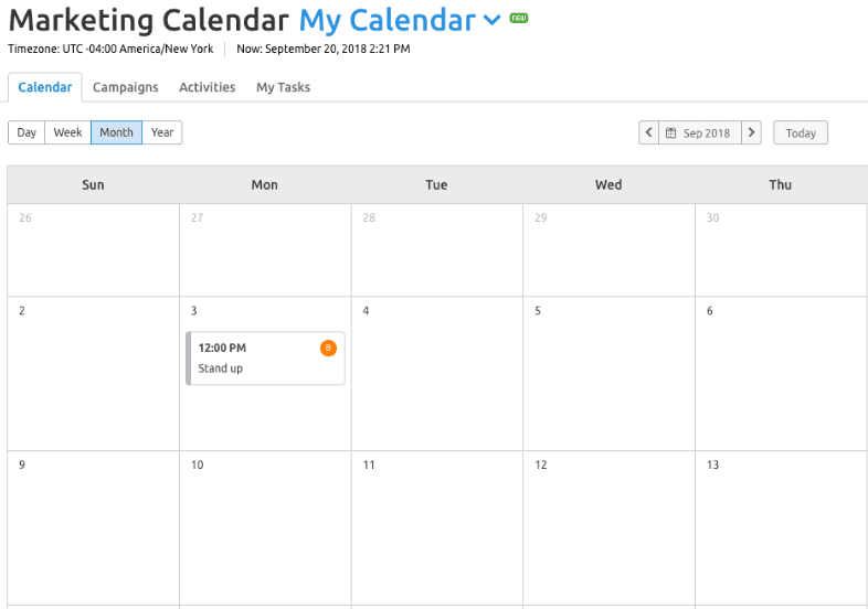 A screenshot of the SEMrush Marketing Calendar