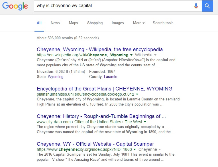 Google Results for Why Cheyenne WY