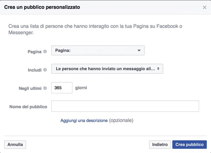 Facebook Messenger: crea un pubblico personalizzato per campagne marketing