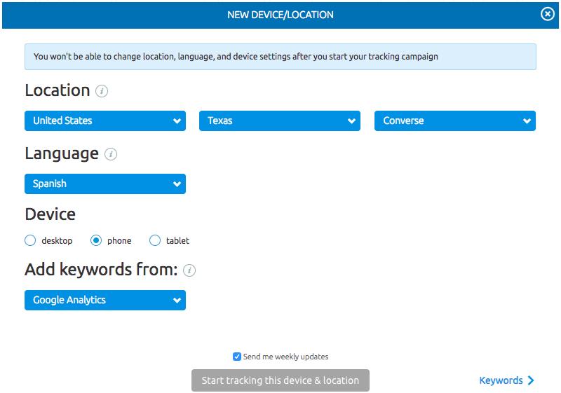 Per ogni progetto di Position tracking puoi selezionare la lingua dell'interfaccia