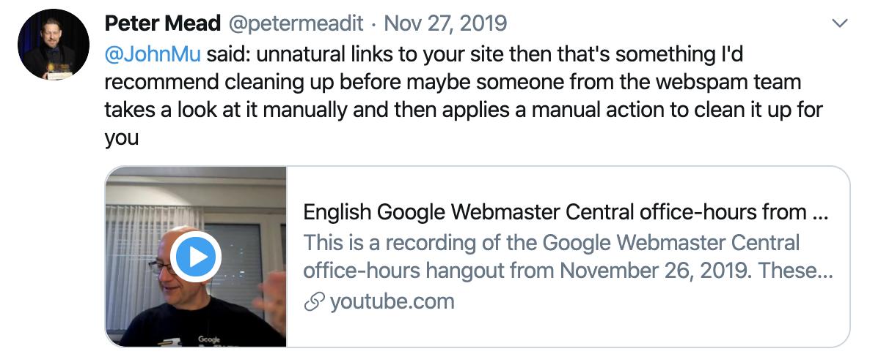 Penalizaciones Google - Tuit @petermeadit