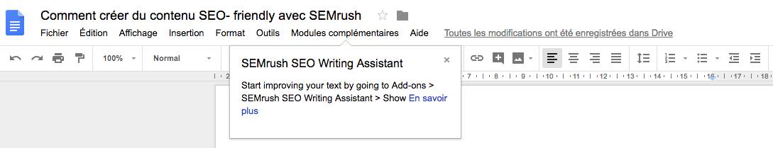 SEO Writing Assistant pour Google Docs