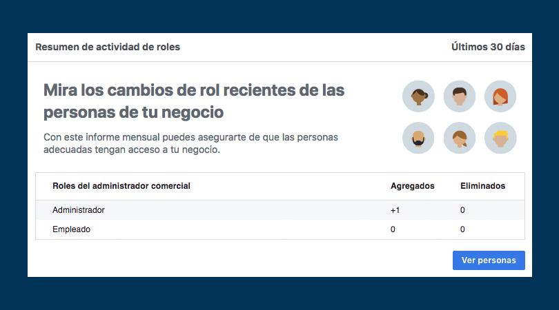 Facebook Business Manager - Resumen de la actividad