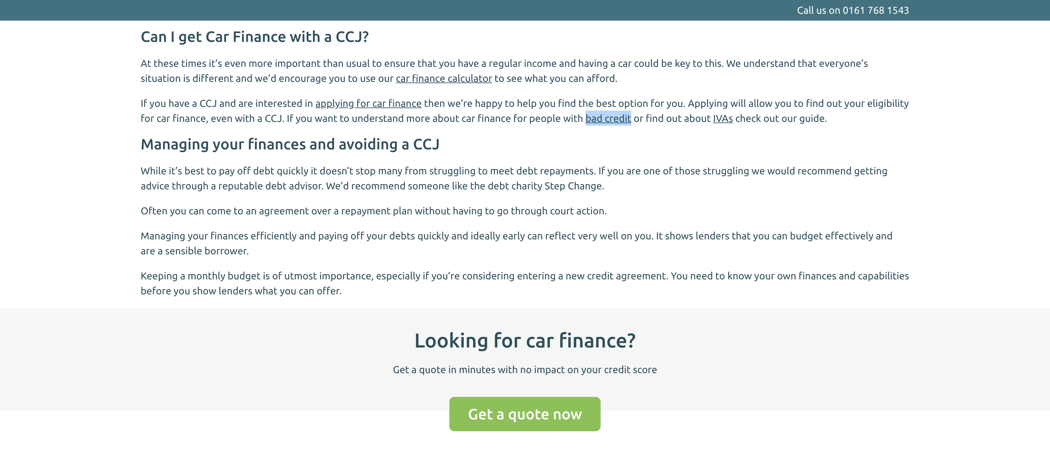 CCJ Car Finance Internal Links Example