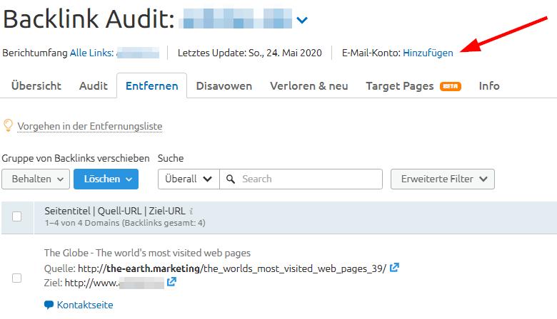 E-Mail-Adresse mit SEMrush verbinden