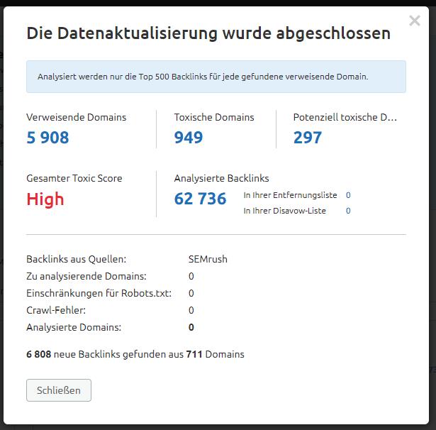 Screenshot: Backlink Audit abgeschlossen