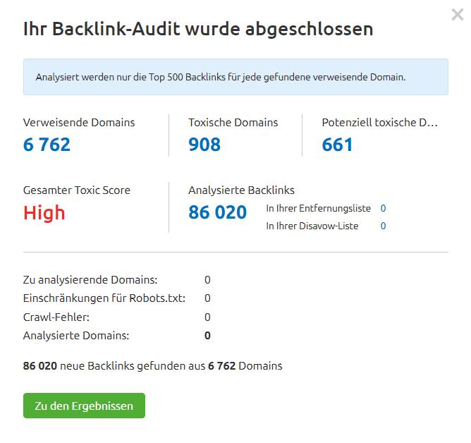 Benachrichtigung über abgeschlossenes Backlink Audit