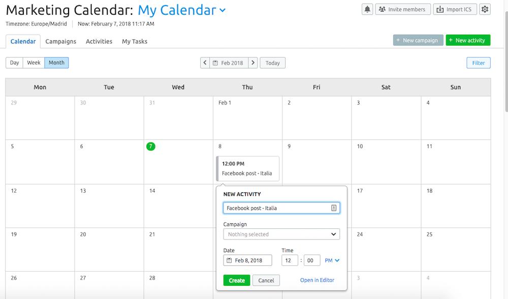 Organizza il flusso di lavoro della tua campagna social globale con Marketing Calendar di SEMrush
