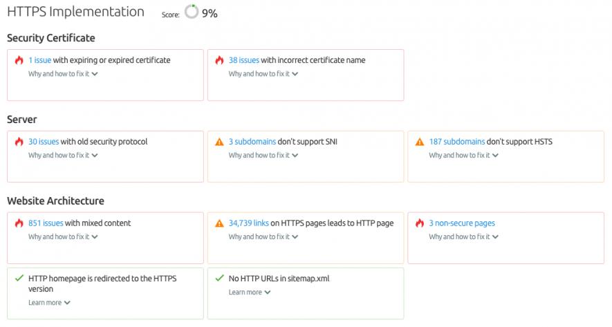Il report Implementazione Https di Site Audit