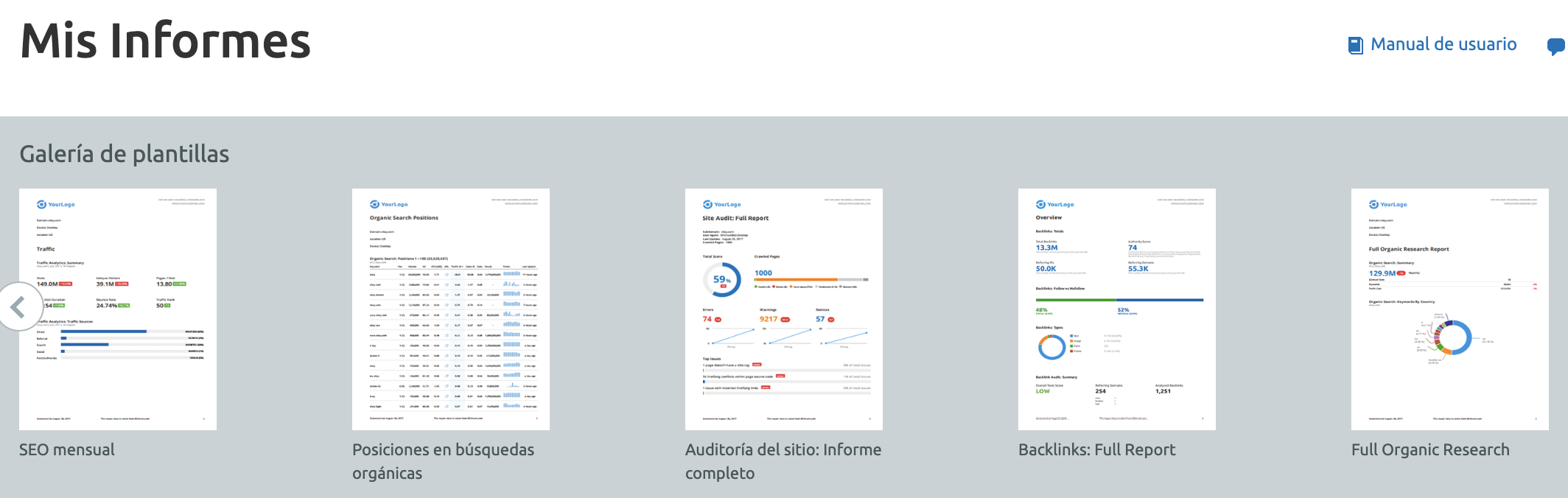SEMrush My Reports screenshot