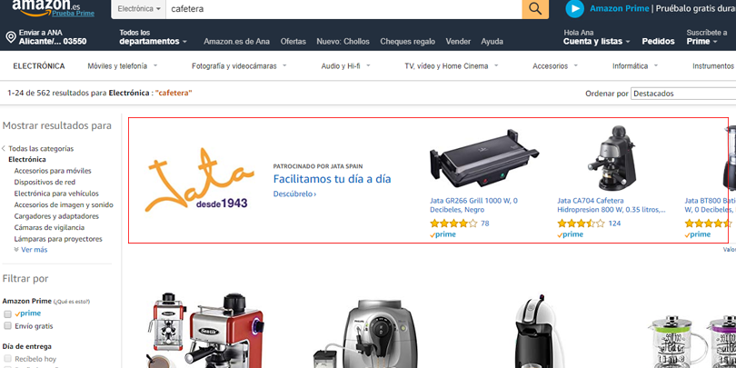 Publicidad en Amazon - Sponsored brands
