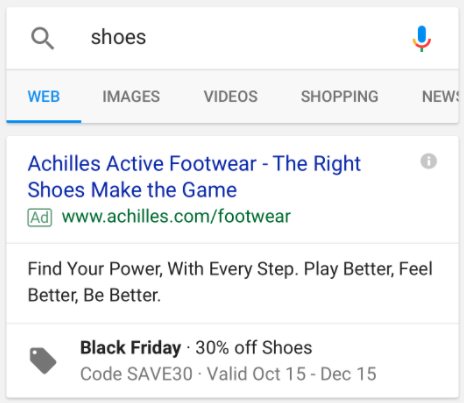 Promotion extensions AdWords example
