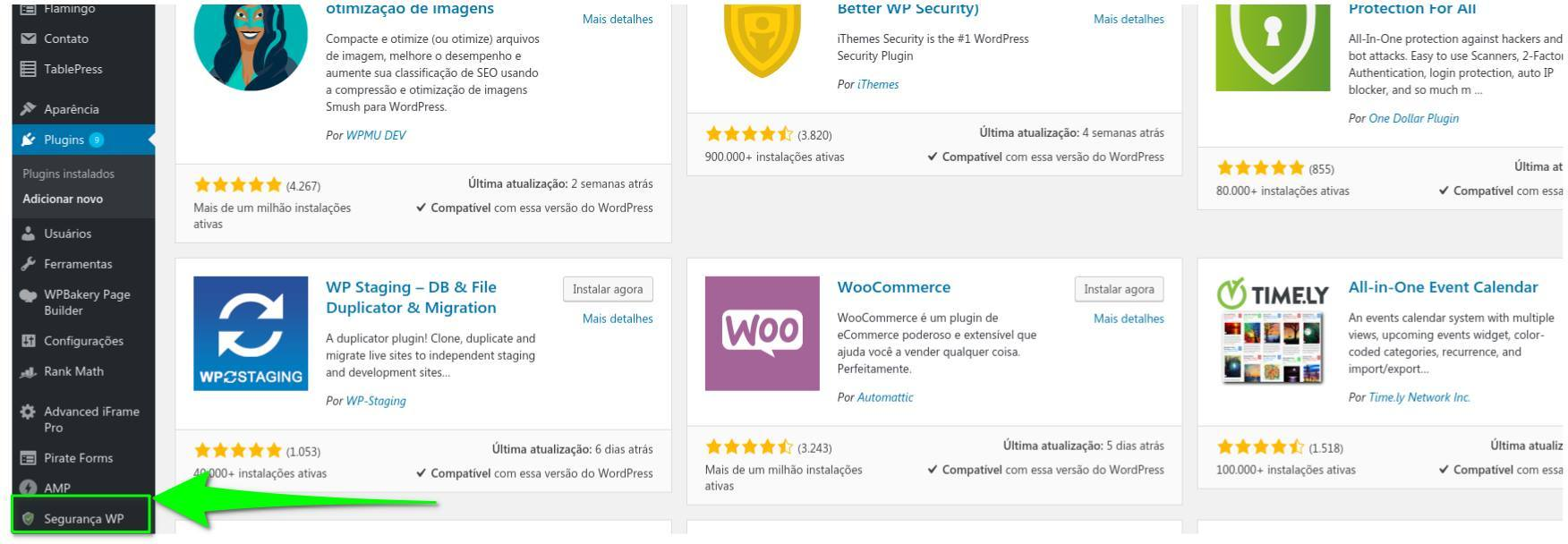 Acesse o painel do plugin All in One WP Security