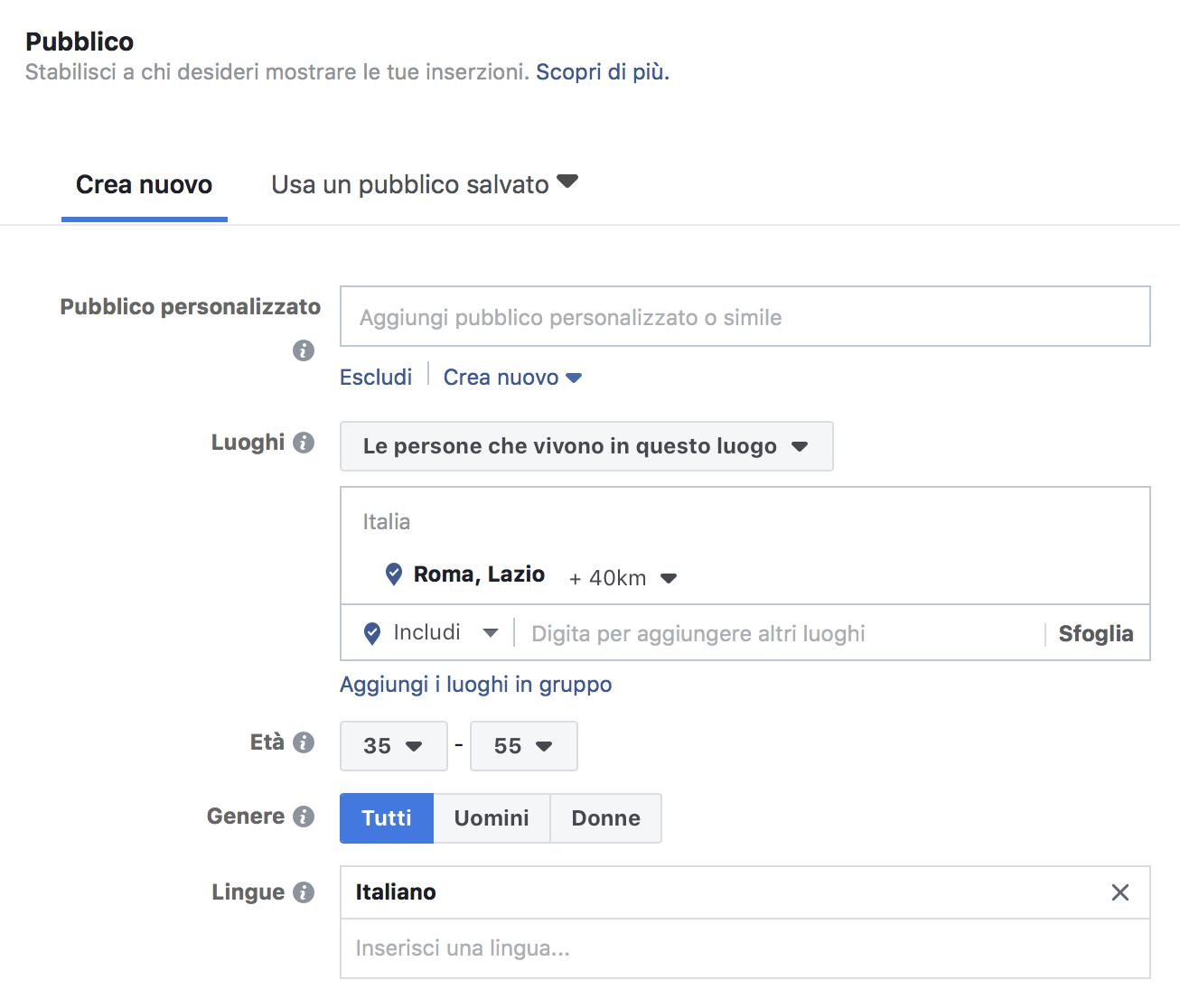 Facebook Ads: Pubblico