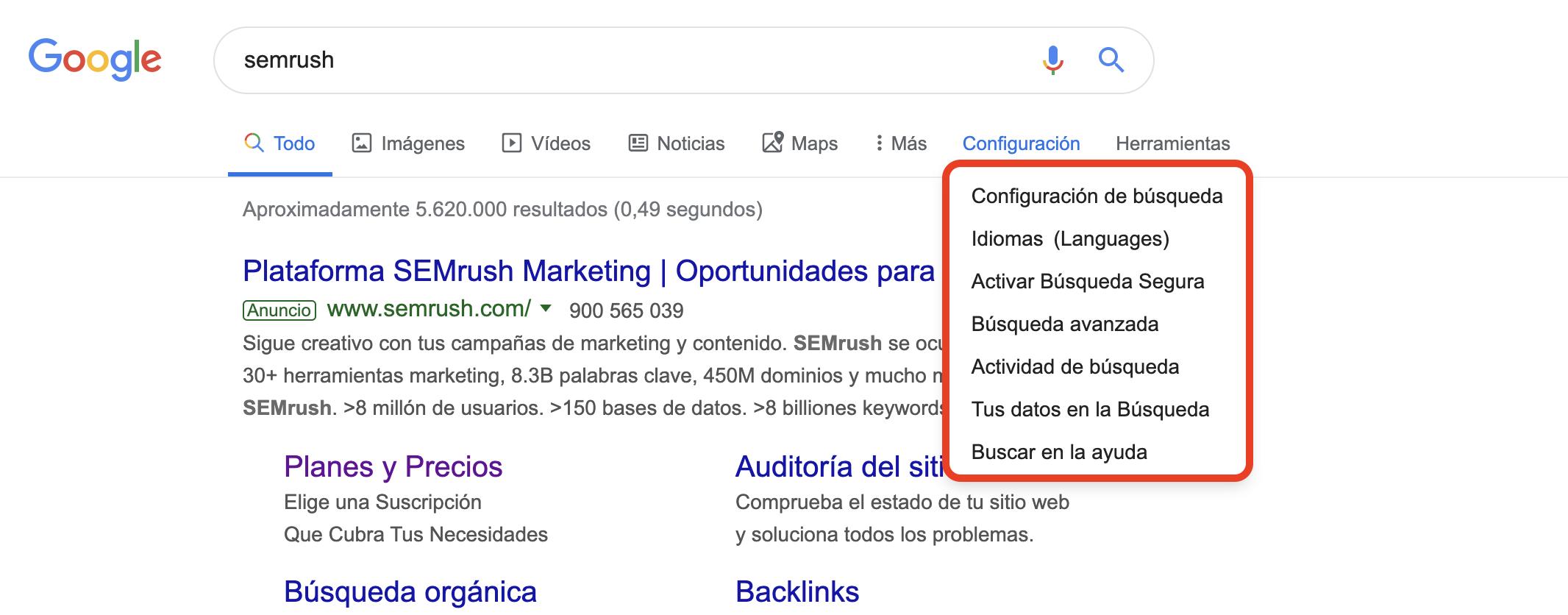 Búsqueda avanzada en Google - Configuración del buscador
