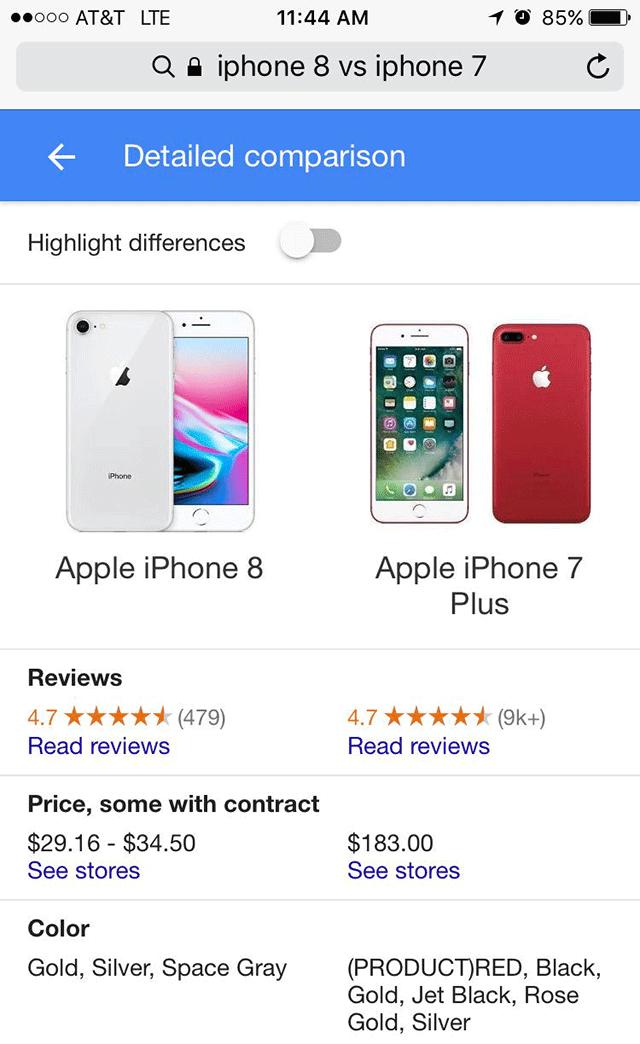 Google product comparison