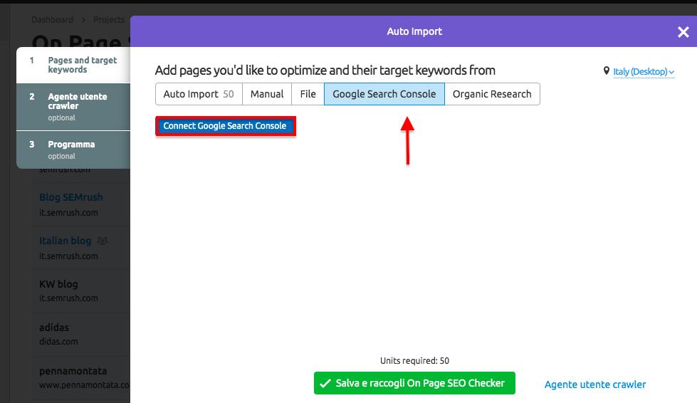 Strumento per l'ottimizzazione SEO integrato con Google Search Console