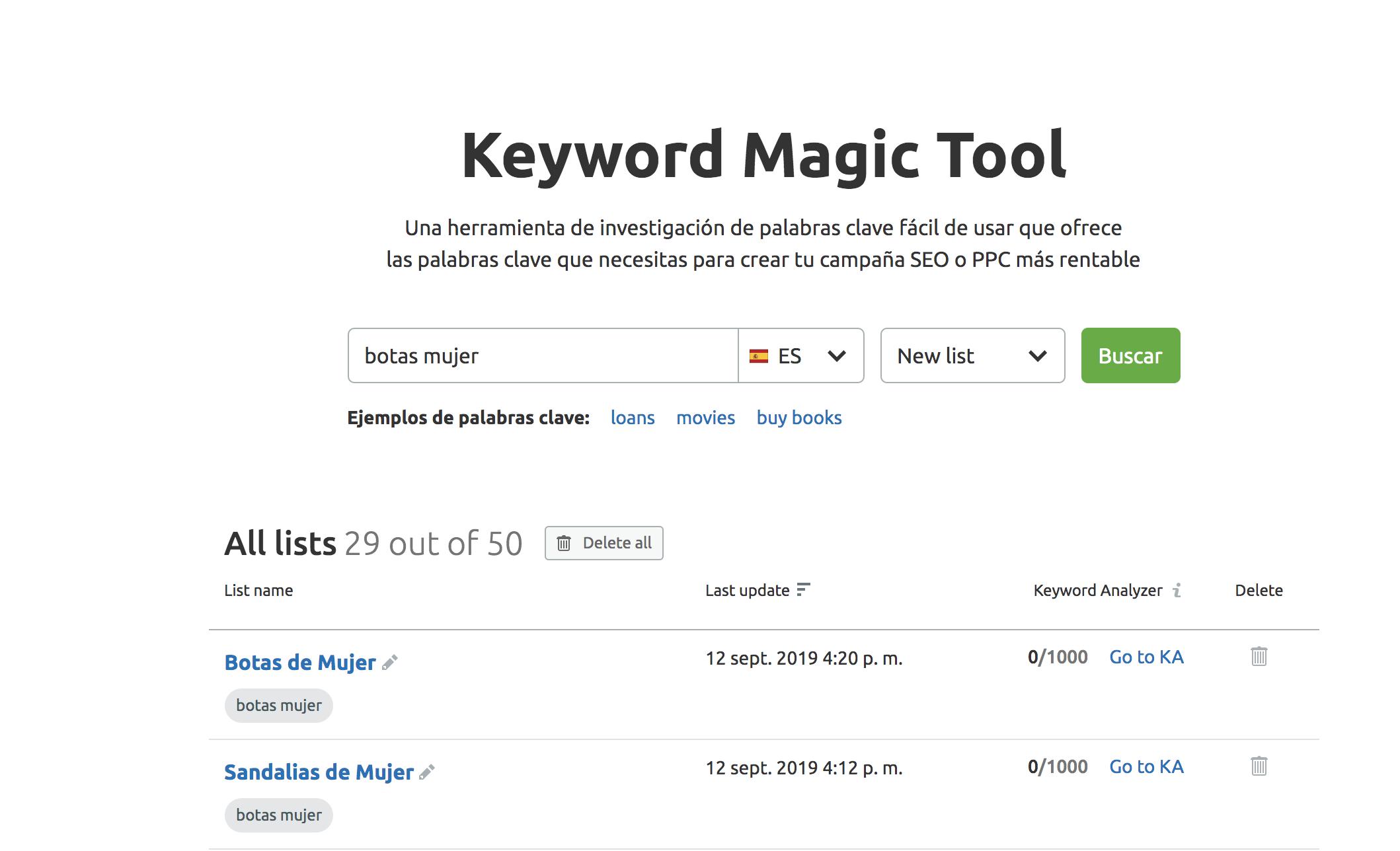 Análisis de keywords - Keyword magic tool listas