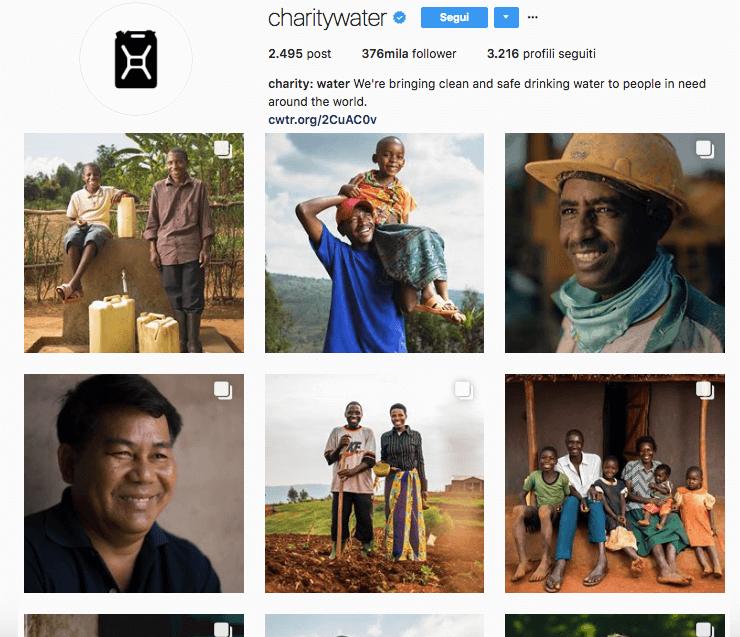 Account Charity Water da seguire su Instagram
