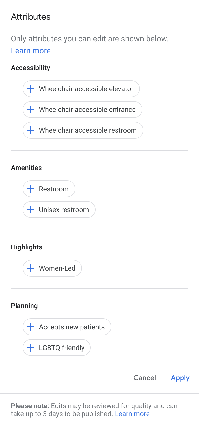 Choose Google My Business attributes - showing different options