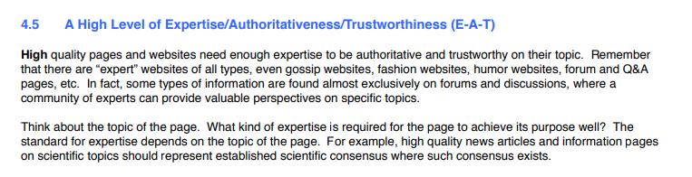 Páginas e sites de alta qualidade precisam de experiência suficiente para serem confiáveis.