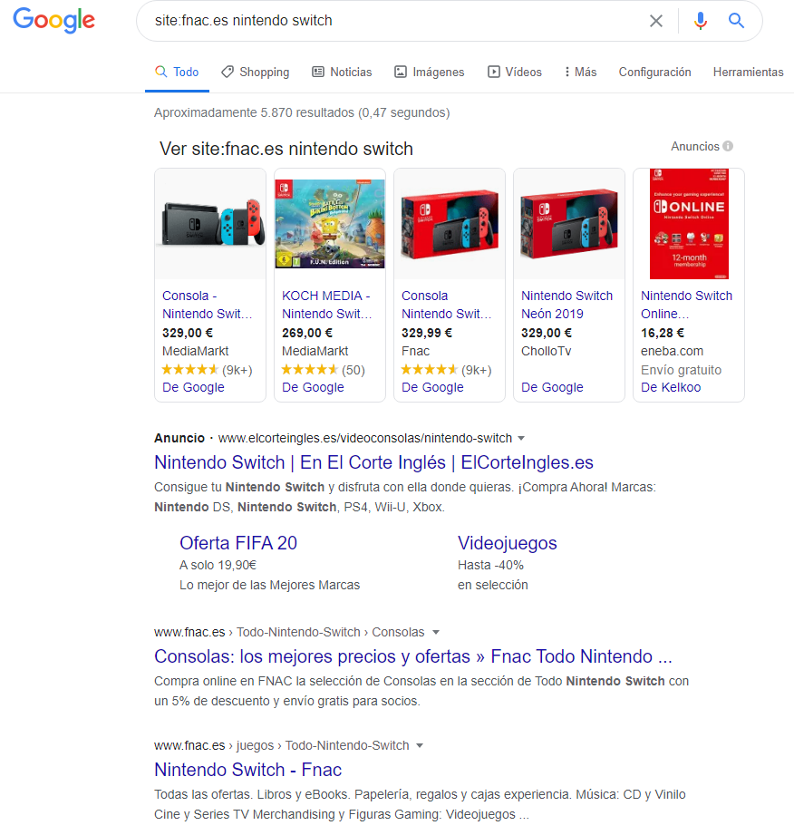Canibalización de palabras clave - Site search operator