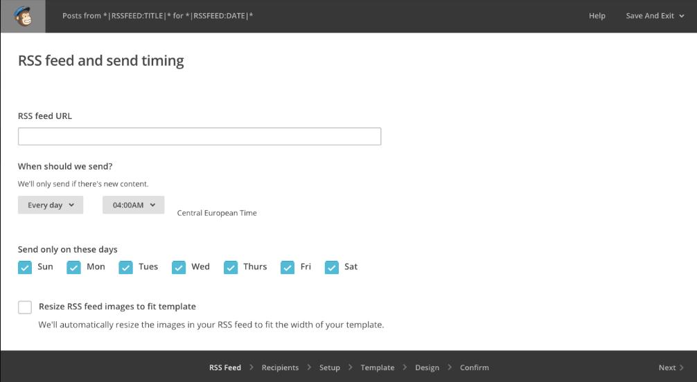 Configura il feed RSS della tua newsletter creata su MailChimp