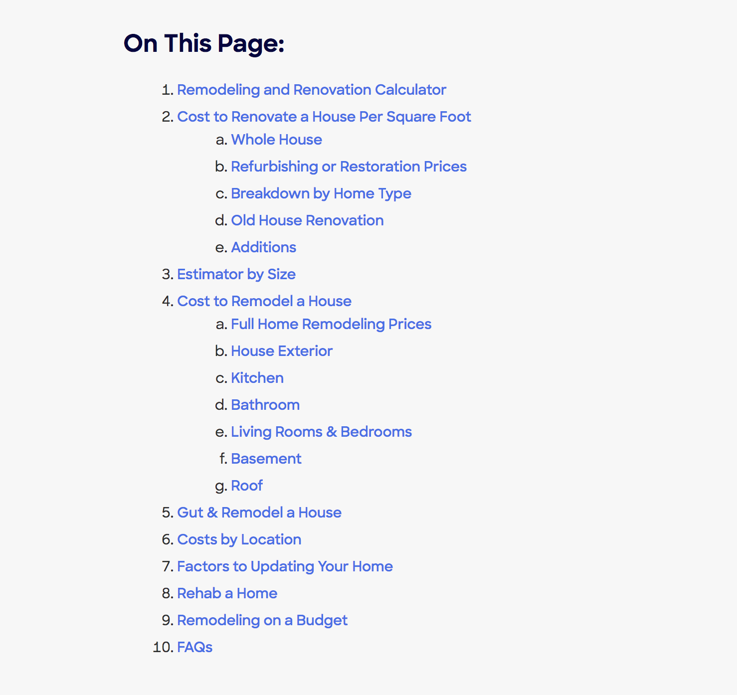 HomeAdvisor table of contents screenshot
