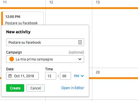 Come si imposta un'attività su Marketing calendar