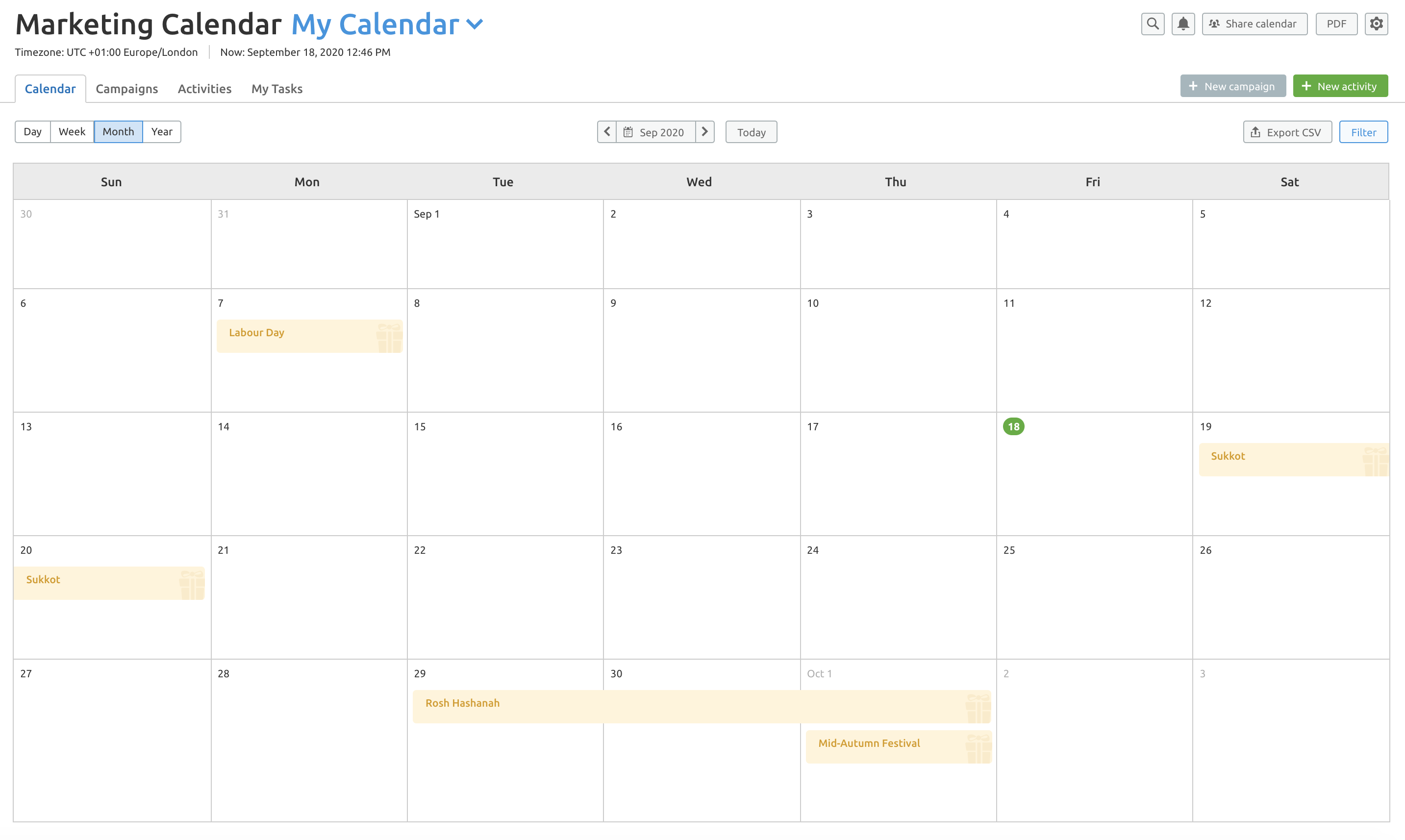 Marketing Calendar screenshot